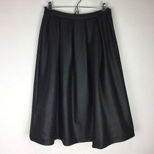 TOPSHOP | Black Metallic Pleated Midi Skirt